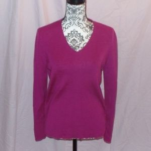 Ann Taylor Purple Sweater Merino Wool Large L